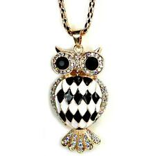 HARLEQUIN OWL NECKLACE Sparkling Rhinestone Pendant NEW Black White Enamel Bird