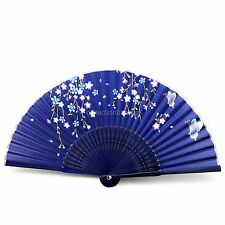 Dark Blue Chinese Bamboo Silk HAND FAN with Flower for Christmas Gift 9SA15