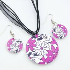 Fashion painting Flowers wood pendants Necklace Earrings Jewerly set XL21