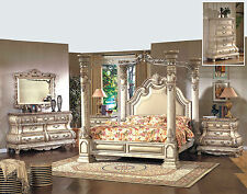 Formal Traditional Luxury White Bedroom Set Queen Bed Dresser Mirror Nightstand