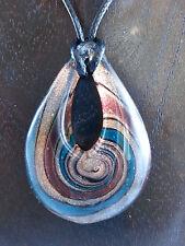 Halskette mit Anhänger aus Glas Tropfen Goldsand / Braun / Petrolgrün