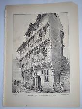 Maisons rue St Guillaume à Rennes ROBIDA LITHOGRAPHIE ORIGINALE BRETAGNE 1891