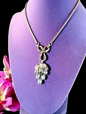 CROWN TRIFARI PHILIPPE OVAL BAGUETTE RHINESTONE NECKLACE DANGLE GRAPE PENDANT