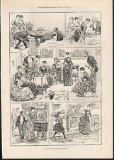 1888 SOME INDOOR GAMES FOR LONG EVENINGS DRAWING ROOM TENNIS WITH FANS & BALLOON