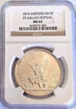 Swiss 1874 Silver Medal Shooting Thaler 5 Francs St Gallen R-1156a NGC MS63