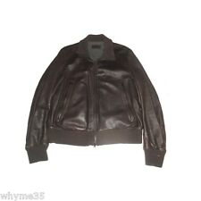 Rare Prada Brown Deerskin Leather w Wool Liner Bomber Jacket 54 / 44 XL