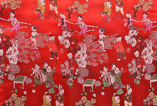 "1/2 YD. 36"" ORIENTAL SILK DAMASK JACQUARD BROCADE FABRIC TAPESTRY: CHINESE KIDS"