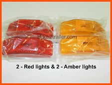 (2) RED & (2) Amber Lights 2 LED's 1 x 4 surface mount Clearance marker trailer