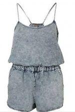 Topshop Acid Blue Washed Denim Vtg 90s Celebrity Festival Playsuit Shorts 8 4 36