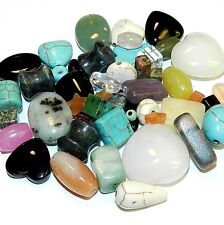 NG385 Assorted Shapes Colors & Sizes Mixed Gemstone Beads 50-grams (50 Beads)