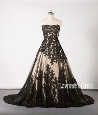Vintage Champagne&Black Appliques Wedding Ball Gown Quinceanera Dresses Custom+