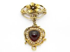 10k Yellow Gold 7ct Cabochon Garnet Seed Pearl Dangle Drop Flower Brooch Pin