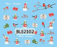 Feliz Navidad Muñeco De Nieve Guantes pájaro de invierno Carta Nail Art de transferencia de Agua Decal