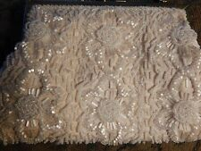 Vintage 50's White Glass beads Beaded Silk Purse Wedding Floral Boho New Years