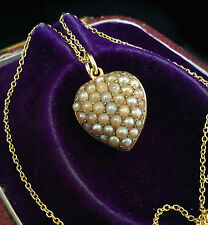 Antique Exquisite Victorian 15ct Gold Natural Pearl Pave-set heart pendant