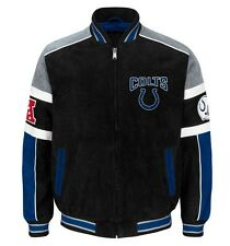 Officially Licensed NFL Indianapolis Colts Varsity Suede Leather Jacket LARGE