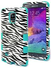For Samsung Galaxy Note 4 Hybrid Protective Heavy Duty Soft Teal/Zebra Hard Case