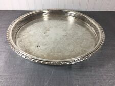 Vintage Rogers Bros Etched Silver Plated Pierced Edge Large Serving Tray 14.75""
