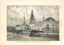 Exposition Universelle Esplanade Invalides Palais Electricité ANTIQUE PRINT 1900