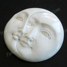 "1 5/16"" 33MM OPEN EYES MOON SUN FACE BISON BONE CAB UNDRILLED BEAD cabochon"