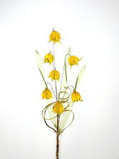 Patio Decoration Idea Lovely Crystal Glass Flower On Wire Stem Dark Yellow Hot