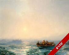 SHIPS BOATS ON FROZEN RUSSIAN RIVER SEASCAPE PAINTING ART REAL CANVAS PRINT