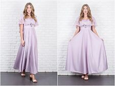 Vintage 70s Lavender Purple Maxi Dress Goddess Cape Sleeves Boho Hippie Small S