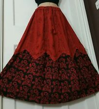 Long Rayon Embroidered Boho Hippy Gypsy Elasticated Skirt TERRACOTTA&BLACK 14-20