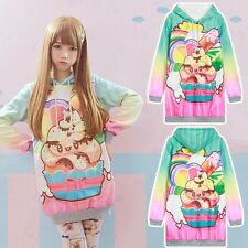 Harajuku Sundae Icecream Casual Long Sleeve Hoodie Sweatshirt Sweet Cute Sweater