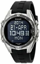 Pulsar PQ2003 Men's On the Go Digital Stainless Steel 100M Black Rubber Watch