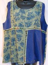 T394~TIENDA HO~Blue~FANCY TANK TOP~Nothing Matches~RAYON~floral~STUNNING~OS