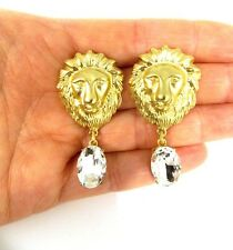 Gold and Crystal Lions Head Earrings -UK SELLER