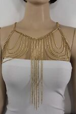 Women Gold Metal Chain Link Body Jewelry Long Harness Necklace Fashion Accessory