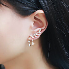 New Women Lady Elegant  Rose Gold Stud Leave Chain Artificial Crystal Earrings