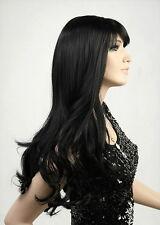 Perücke Schwarz Gelockt Lang Haar Wig Weiblich Damen Haarteile wie Echthaar Neu