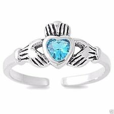 Adjustable Claddagh Toe Ring Sterling Silver 925 Oxidized Jewelry Blue Topaz