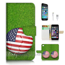 iPhone 7 (4.7') Flip Wallet Case Cover P3103 USA Flag Soccer