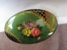 VINTAGE VICTORIAN HAND PAINTED GREEN ENAMEL FLORAL FLOWERS BROOCH PIN C-CLASP!