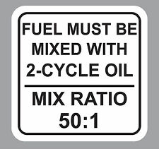 50:1 2-Cycle Oil Fuel Mix Ratio Sticker Decal Chain Saw Weed Trimmer Motorcycle