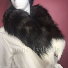 "40"" 100cm Long Genuine Natural Silver Fox Tail Black w white Tip Collar Scarf"