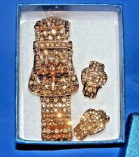 "Swarovski Crystal ""Champagne"" Belt Buckle Bracelet & Earrings"