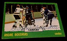 ANDRE BOUDRIAS 1973-74 Topps Hockey AUTOGRAPH Singed ON Card AUTO  #19 CANUCKS