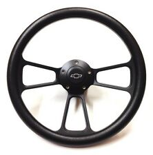 "1970 -1973 Chevy C/K Pick Up Truck 14"" Black Steering Wheel, Chevy Horn, Adapter"