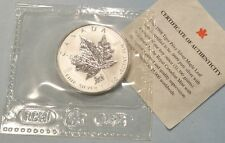 1998 CANADA $5 SILVER MAPLE LEAF TIGER PRIVY MARK WITH COA 1 OZ COIN