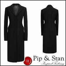 REISS UK10 US6 BLACK WOOL FORMAL LONG COAT WOMENS WOMAN LADIES CROMBIE SIZE