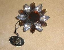 Beautiful D&E Juliana Pin in Dark Gold & Clear Stones Japanned Metal - New/ Tag