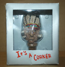 Carat Top Indian Head Chief Way-To-Go Cork Corker Wine Bottle Stopper Art Carved