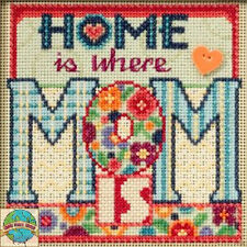 Cross Stitch Kit ~ Mill Hill Buttons & Beads Home is where MOM Is #MH14-5101