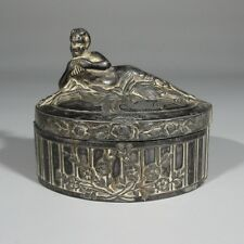 Antique French Jewelry Casket Box, Faun / Pan / Satyr Playing Syrinx or Pan Pipe