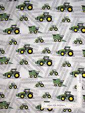 John Deere Little Farm Tractors Equipment Cotton Fabric CP59371 Springs - Yard